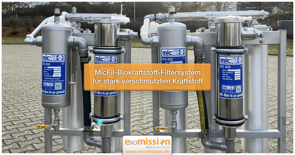 MicFil-Biokraftstoff-Filtersystem für stark verschmutzten Kraftstoff